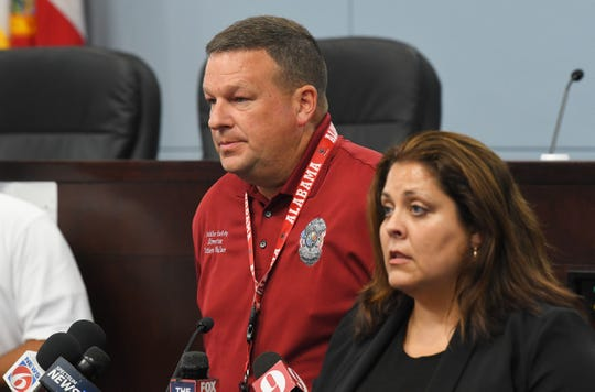 Brevard County Public Safety Director Matthew Wallace speaks at a news conference Tuesday at the Government Center in Viera related to the coronavirus pandemic. At right is Tara Roth of American Sign Language Services.