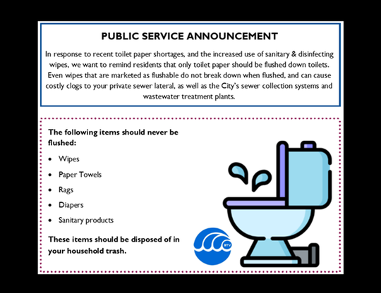 A message from the city of Burlington's Public Works Department advising residents to avoid flushing sanitary products and other waste materials into the toilet.