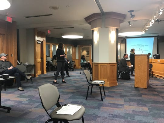 This is how the chambers for the Hamilton County Board of Commissioners reflects social distancing
