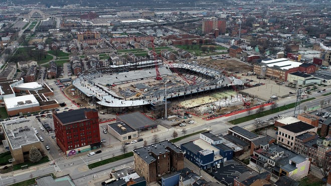 Construction continues on the FC Cincinnati stadium in the West End neighborhood of Cincinnati on Tuesday, March 24, 2020.