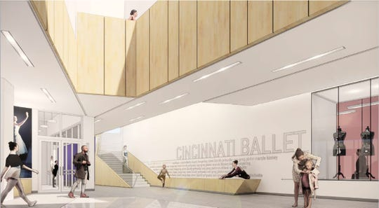 An artist's rendering of the interior of Cincinnati Ballet's new dance center, currently under construction on Gilbert Avenue in Walnut Hills. It is scheduled to open during the summer of 2021.