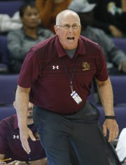Salpointe head coach Jim Reynolds reacts after a call during the 4A Boys state championship basketball game against Shadow Mountain in Phoenix on February 24, 2018.