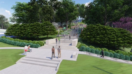 """An artist's rendering of the Art Climb, a grand, art-lined stairway stretching from the intersection of Eden Park Drive and Gilbert Avenue to the entrance of the Cincinnati Art Museum. It should open within """"a month or so,"""" according to the museum."""