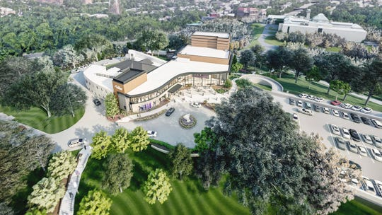 An aerial view of the new Playhouse in the Park theater complex, scheduled to open in late 2022. In the background, you can see the Cincinnati Art Museum.
