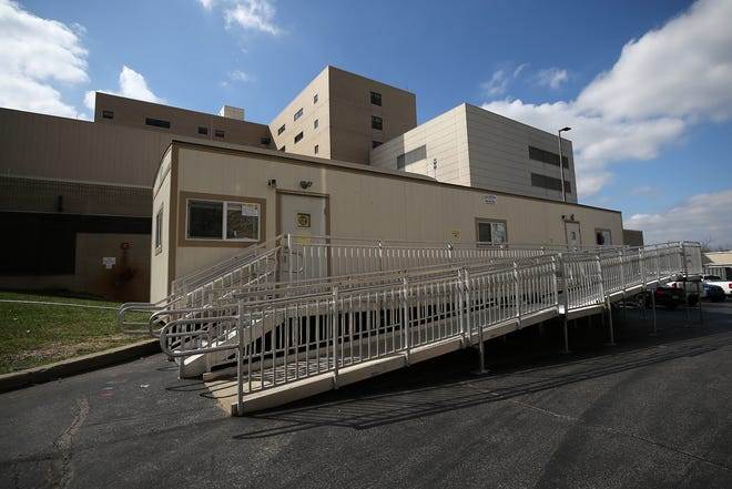 A trailer set up near the emergency room at St. Elizabeth Medical Center, Monday, March 23, 2020, in Edgewood, Ky.