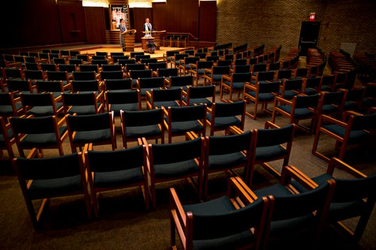 Rabbi Lewis Kamrass holds the weekly shabbat services with soloist Elana Bell through livestream from Isaac M. Wise Temple in Amberley, on Friday, March 20, 2020.