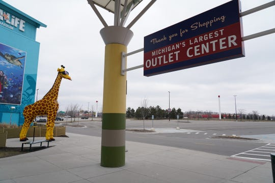 Empty parking lot at Great Lakes Crossing in Auburn Hills is seen on March 24, 2020.