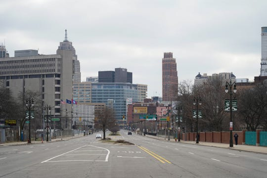 An empty Gratiot Ave. in downtown Detroit is seen on March 24, 2020.