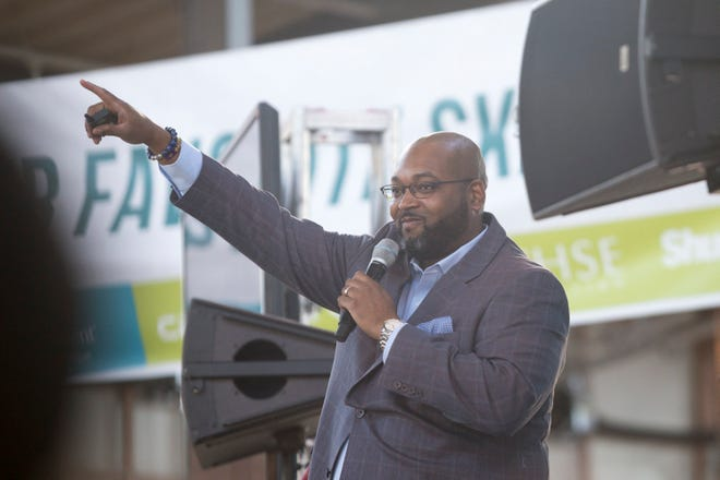Keynote speaker, Marlowe Stoudamire of Butterfly Effect Detroit, spoke to hundreds of Detroit high schools students on Tuesday, Oct. 23, 2018 at Eastern Market in Detroit. Stoudamire, a Detroiter, died Tuesday March 24 of COVID-19.