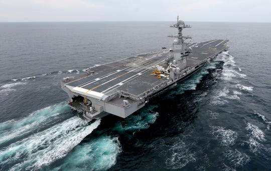 This Dec. 15, 2017, file photo shows the aircraft carrier USS Gerald R. Ford.