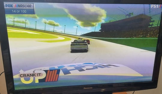 The eNASCAR iRacing Pro Invitational race at the virtual Homestead-Miami Speedway featured in car views as well as track views of the race on FS1.