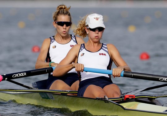 Felice Mueller and Grace Luczak (Ann Arbor) of the United States compete in the women's rowing pair semifinal during the 2016 Summer Olympics in Rio de Janeiro.