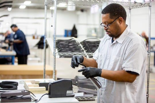 Operators and assemblers assemble medical face shields. Ford Motor Company, in cooperation with the UAW, will assemble more than 100,000 critically needed plastic face shields per week at a Ford manufacturing site to help medical professionals, factory workers and store clerks.