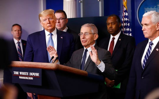 Director of the National Institute of Allergy and Infectious Diseases Dr. Anthony Fauci speaks during a coronavirus task force briefing at the White House, Saturday, March 21, 2020, in Washington.