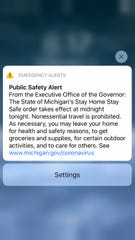 This alert went out to smartphones alerting Michigan residents about the governor's order taking effect early March 24 through April 13.