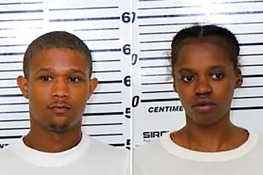 This photo combo provided by Scott County (Iowa) Jail shows from left, Tre Henderson and Jacqueline Rambert.
