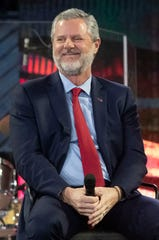 Liberty University president Jerry Falwell Jr. attend a panel discussion at a Liberty University Convocation, Wednesday, Nov. 13, 2019, in Lynchburg, Va.