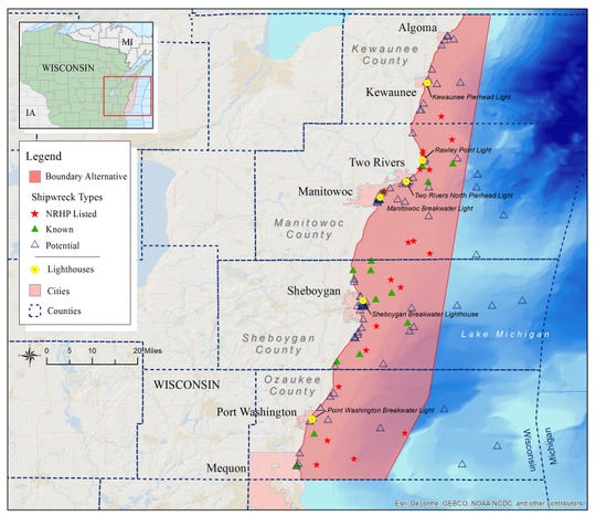 The proposed Plan B for the Wisconsin-Lake Michigan National Marine Sanctuary which includes 185 square miles of water off Kewaunee County.