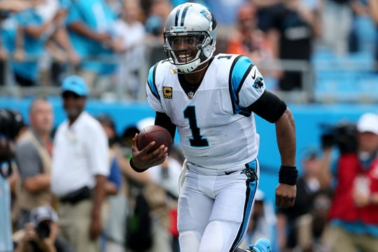 The Carolina Panthers are expected to release quarterback Cam Newton (1) on Tuesday.