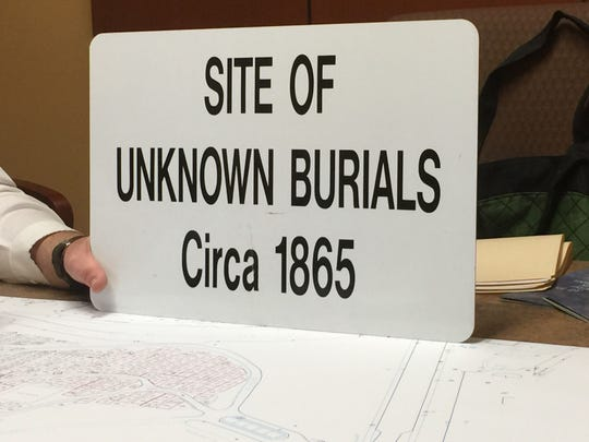 A sign Clemson Historic Properties and Master Planning put up at the site of the Fort Hill slaves and convict laborer burial ground outside Woodland Cemetery. The sign was put up in 2015, but disappeared sometime between then and 2020, according to university staff.