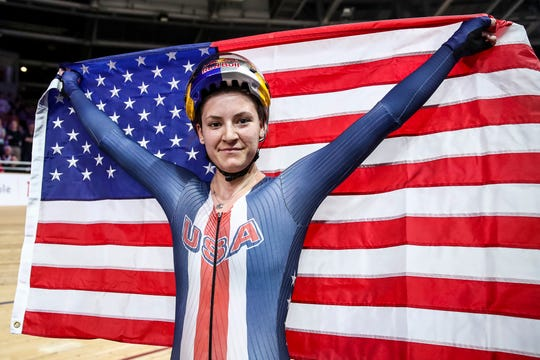 Chloe Dygert of USA celebrates after final of the Women's Individual Pursuit during day 4 of the UCI Track Cycling World Championships Berlin at Velodrom on February 29, 2020 in Berlin, Germany.