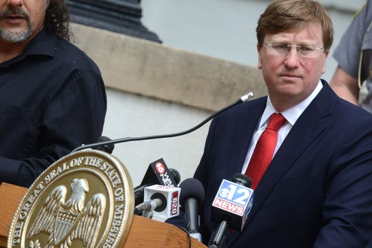 Mississippi Governor Tate Reeves holds a press conference outside the Governor's Mansion in downtown Jackson on the status of COVID-19 management efforts for the state. Tuesday, March 24, 2020.