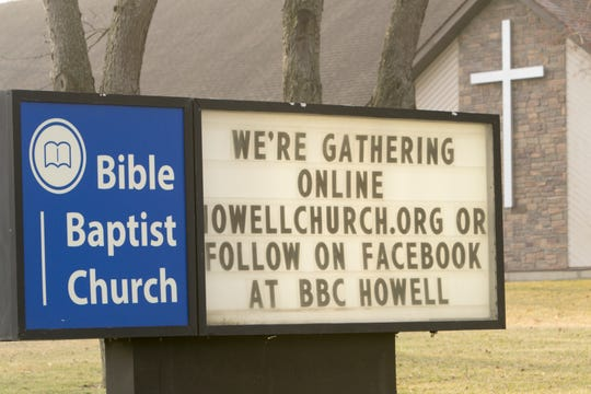 Howell Bible Baptist Church in Oceola Township offers an online worship, as shown on their sign Tuesday, March 24, 2020, a result of the COVID-19 pandemic.