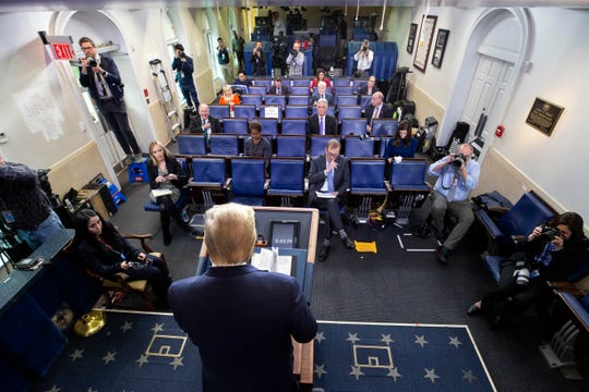 President Donald Trump speaks about the coronavirus in the James Brady Briefing Room, Tuesday, March 24, 2020, in Washington. (AP Photo/Alex Brandon)