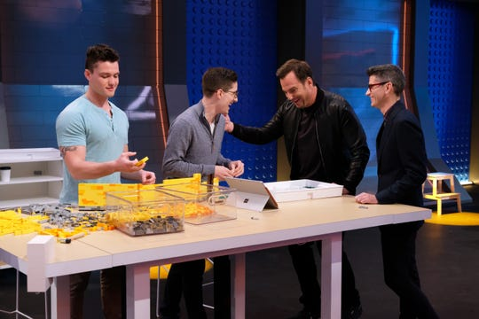 "LEGO MASTERS: L-R: Contestants Christian and Aaron with host Will Arnett and judge Jamie Berard in the ""Storybook"" episode of LEGO MASTERS airing Wednesday, March 18 (9:01-10:00 PM ET/PT) on FOX. ©2020 FOX MEDIA LLC. CR: Ray Mickshaw/FOX"