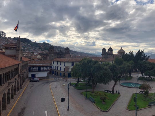 The view from Laura Jessup's hotel window in Cusco after the Peruvian president declared a mandatory quarantine.