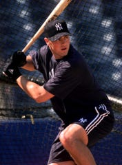 Drew Henson takes batting practice at the New York Yankees Legends Field in February 1999. The former Brighton baseball star and University of Michigan quarterback is part of the Michigan Baseball Hall of Fame's latest class.