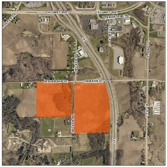 93.5 acres of land near Interstate 43 in the Town of Newton recently purchased by the City of Manitowoc from Manitowoc County. The land, on Hecker Road and Viebahn Street in the Town of Newton, will be annexed into city limits at a future date.