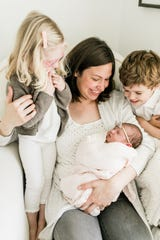 Stephanie Ciatti, who started Babbling Babes mom-and-baby groups, with her children, Maisy, Pippa and Ollie.