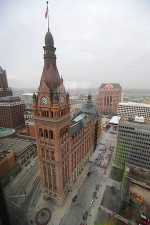 A view of Milwaukee City Hall is seen from the 35th floor of the new BMO Tower at 790 N. Water St. in Milwaukee.