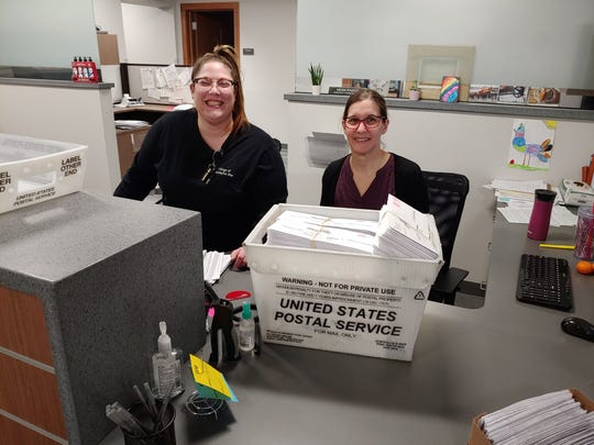 Whitefish Bay Deputy Clerk Caren Brustmann and Administration Assistant Erin Granstrom are mailing 500 to 600 absentee ballots per day to village residents. Roughly 45% of Whitefish Bay voters have requested an absentee ballot as of March 24.
