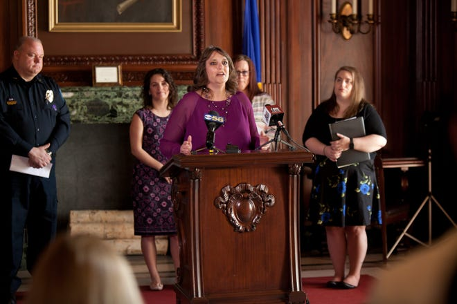 Teri Nicolai speaks at an event supporting Marsy's Law for Wisconsin