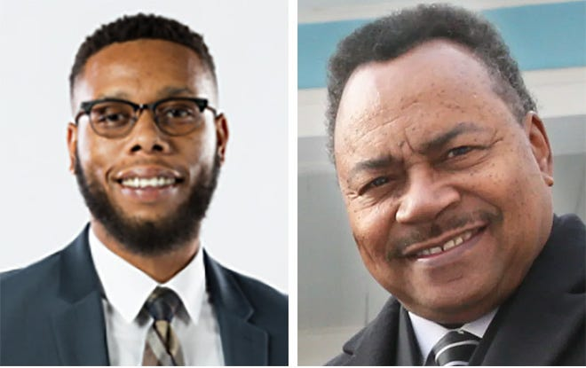 Candidates for Milwaukee City Treasurer Brandon Methu, left, and incumbent Spencer Coggs, right