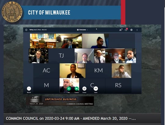 A screenshot shows how the Milwaukee Common Council meeting looks now