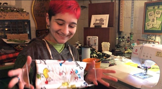 Ava Curry, a sophomore at Parsippany Hills, has learned to sew masks to donate to Morristown Medical Center.
