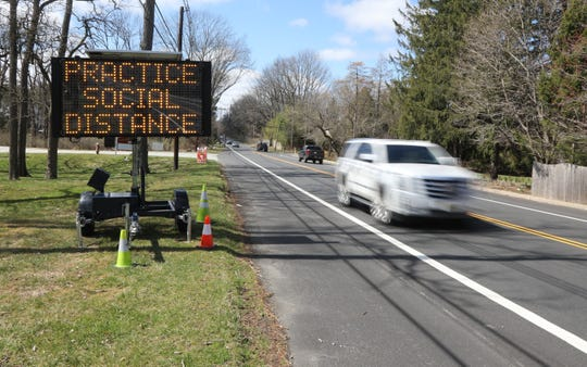 The Ralston section of Route 24 in Mendham Twp. New Jersey, NJ on March 24, 2020 where signs warn motorists as New Jersey attempts to stop the effects Covid-19.