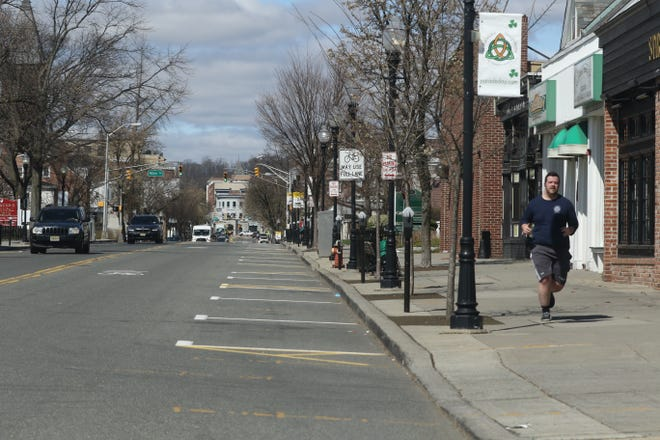Parking spots are usually hard to find on South St. during lunch hour but today are plentiful in Morristown, NJ on March 24, 2020 as New Jersey attempts to stop the effects Covid-19.