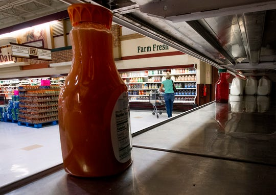 A bare shelf as Renfroe's Market In Montgomery, Ala., restocks it's shelves on Tuesday March 24, 2020.