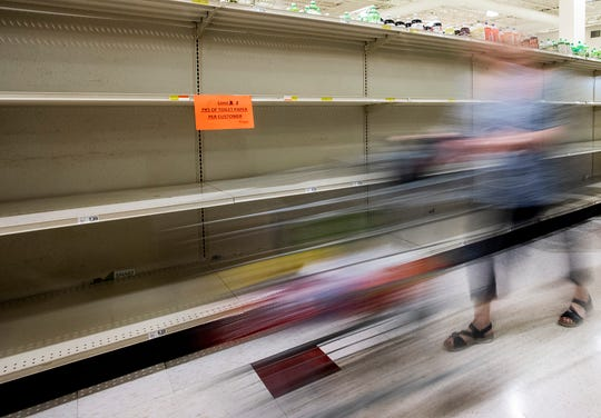 Paper products are slow to arrive at grocery stores, like Renfroe's Market In Montgomery, Ala., as seen on Tuesday March 24, 2020.