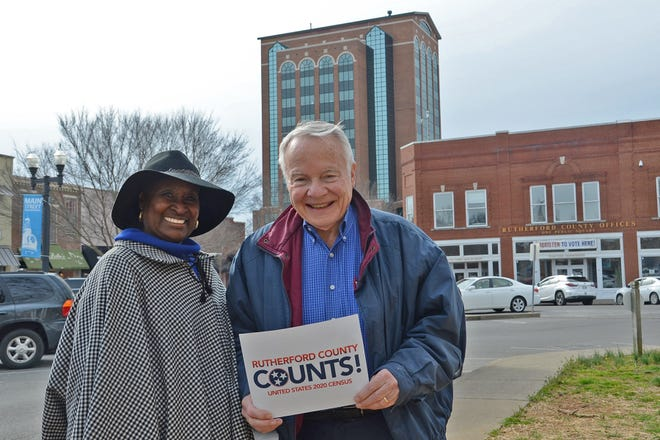 Gloria Bonner, left, and Bill Kraus, co-chairs of the volunteer Rutherford County Complete Count Committee for the 2020 Census, pose with a Rutherford County Counts! placard outside the Rutherford County Courthouse in downtown Murfreesboro, Tenn. Residents have started receiving via mail their invitation to fill out the 2020 Census questionnaire. (Submitted photo)