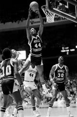 Jerry Beck (44), the Ohio Valley Conference Player of the Year, grabs a rebound for MTSU during a Mideast Regional game against Kentucky on March 11, 1982.