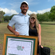 Golfer Ryan Terry of Nashville poses with his girlfriend Leah after winning the Florida Azalea Amateur in Palatka, Florida, an event made unique in that it was one of the only live sports competitions still taking place.