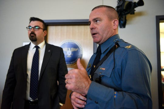 Jared Maples, NJ director of Homeland Security and Preparedness and Superintendent of NJ State Police Col. Patrick Callahan in the New Jersey Regional Operations Intelligence Center (ROIC). The ROIC is the state's intelligence fusion center, comprised of law enforcement and public safety agencies where the state's response to the coronavirus is coordinated.
