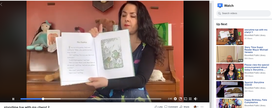 Cheryl Locastro, head of Children's Services at the Bloomfield Public Library, has continued the library's storytime over Facebook to help keep some routine in the lives of their younger patrons. (Screenshot of the library's Facebook page.)