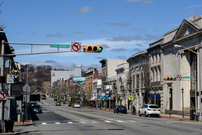 The normally chaotic intersection of Church Street, Bloomfield Avenue and South Fullerton in Montclair, NJ remains empty on Tuesday March 24, 2020 due to the COVID-19 lockdown.