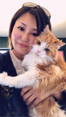 Caregiver Hiromi holds  the adoptable long-haired house-lion Finn. Courtesy photo.